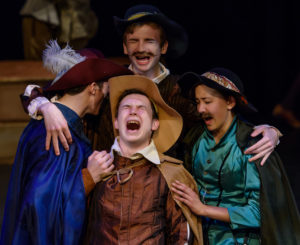 Actors perform a dress rehearsal of The Three Musketeers at West Village Theatre in Calgary on Wednesday, Nov. 23, 2016. The Calgary Young People's Theatre production, written by The Outpatient Collective and based on the 1844 Alexandre Dumas novel, runs until Dec. 3, 2016. (Photo by Rob Galbraith/Little Guy Media)