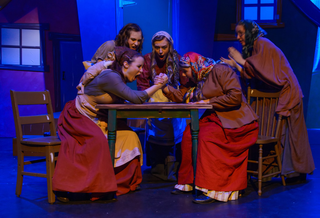 Cast members perform a dress rehearsal of Village of Idiots at the West Village Theatre in Calgary on Wednesday, Feb. 10, 2016. The play, staged by Calgary Young People's Theatre, runs from Feb. 11-20. (Photo by Rob Galbraith/Little Guy Media)